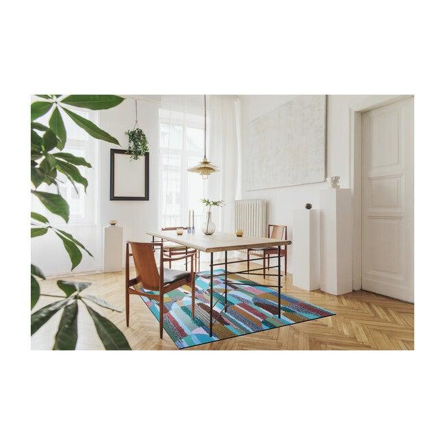 Magic Sweepable Shag Floormat, Cyan