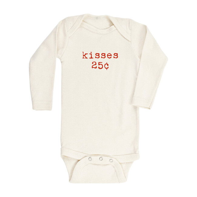Kisses Long Sleeve Onesie, Red