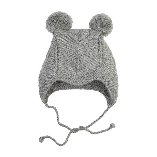 Bonnet With 2 Pom Poms, Gray