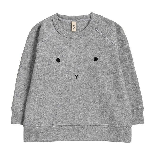 Grey Melange Bunny Baby Sweatshirt