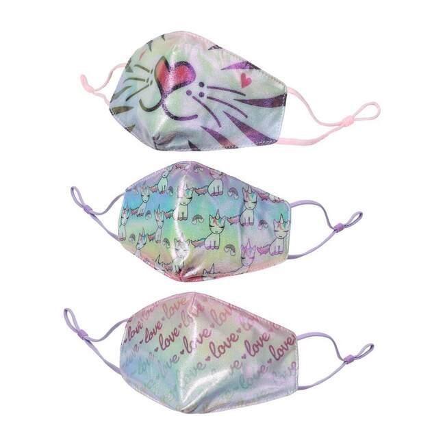 3 Pack Face Masks, Metallic Sweet Tigress