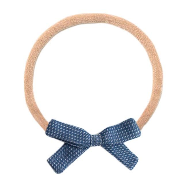Small Bow Headband, Navy Chex