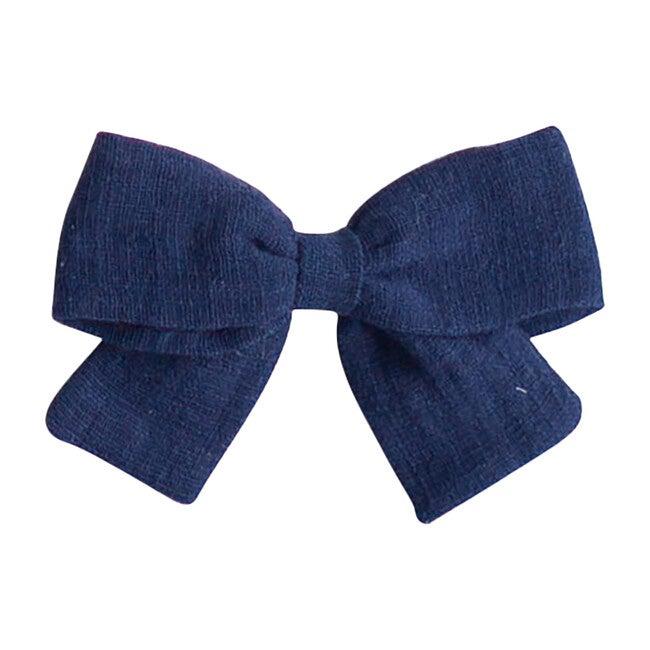 Big Bow, Navy Linen