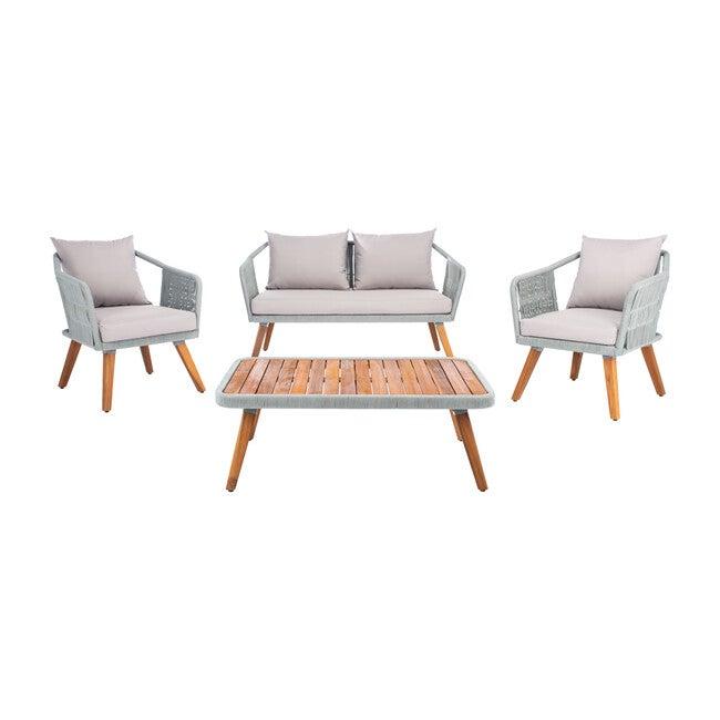 Raldin Rope 4-Piece Outdoor Living Set, Grey