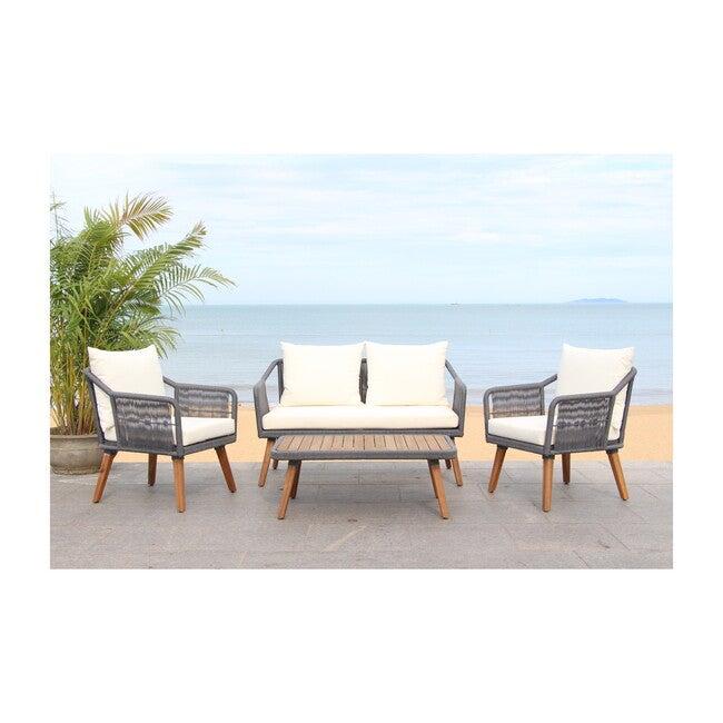 Raldin Rope 4-Piece Outdoor Living Set, Grey/Beige