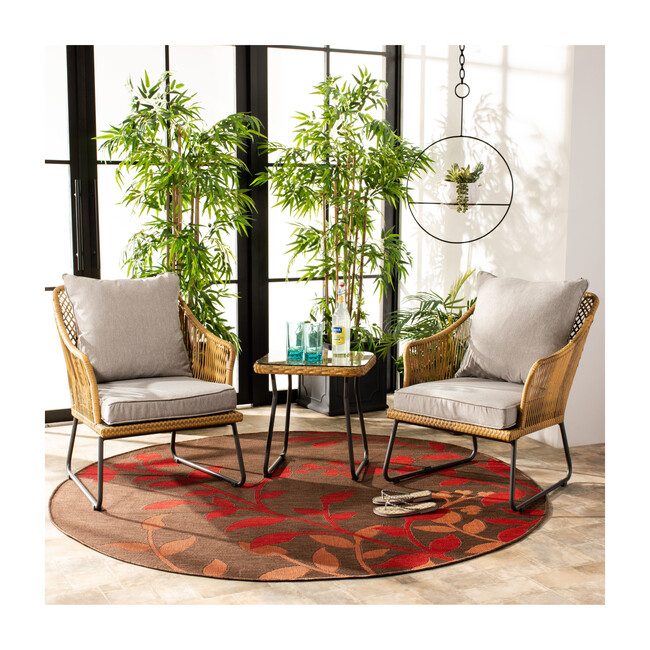 Jensen 3-Piece Rattan Outdoor Lounge Set, Natural/Grey