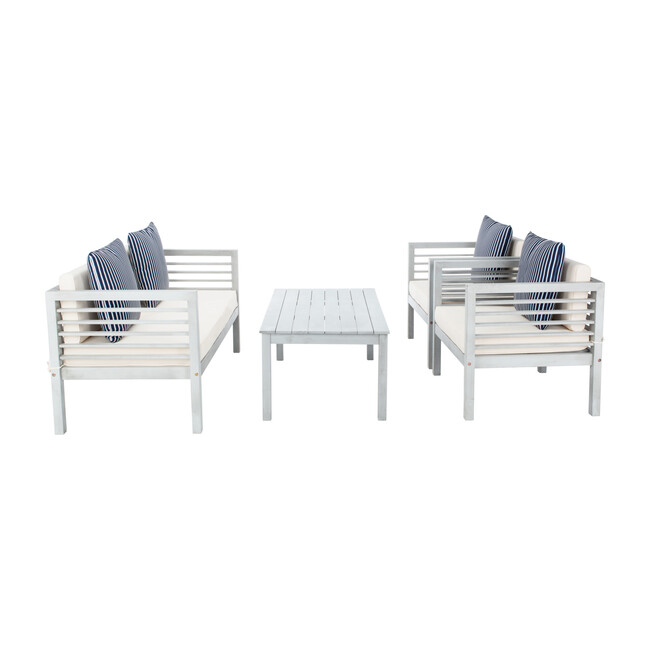 Alda Eucalyptus 4-Piece Outdoor Set, Grey/Navy Stripe