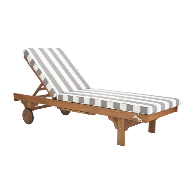 Newport Lounge Chair, Acacia/Grey Canopy Stripe