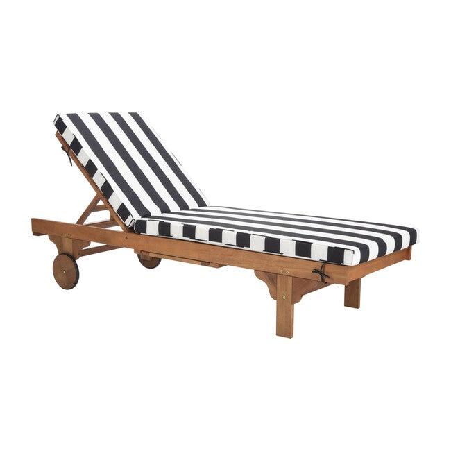 Newport Lounge Chair, Acacia/Black Canopy Stripe