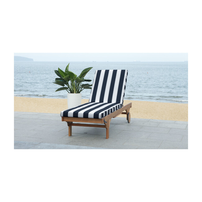 Newport Lounge Chair, Acacia/Navy Canopy Stripe