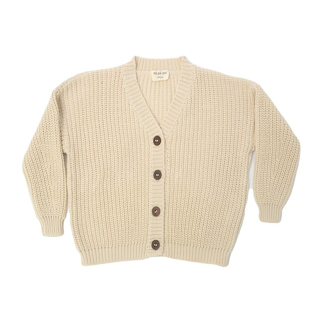 Leo Knit Cardigan, Cream Cotton