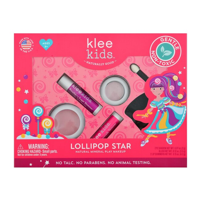 Lollipop Star 4-PC Natural Play Makeup Kit with Pressed Powder Compacts