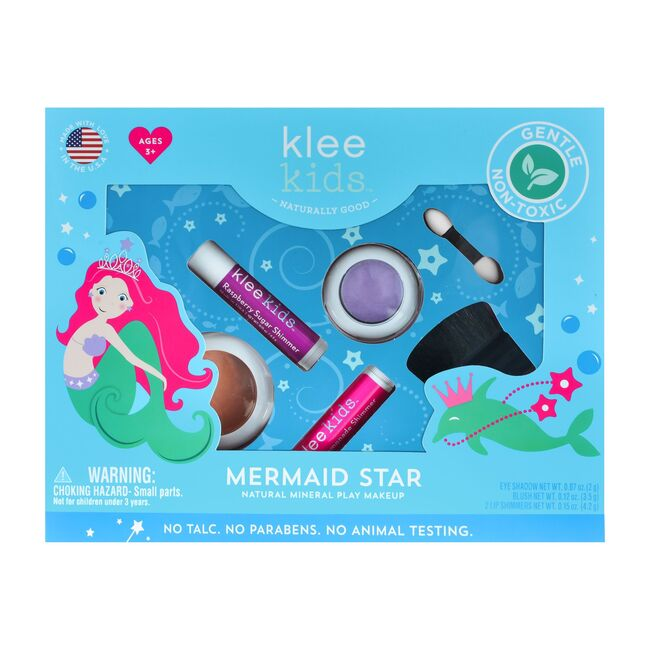 Mermaid Star 4-Piece Natural Play Makeup Kit with Pressed Powder Compacts