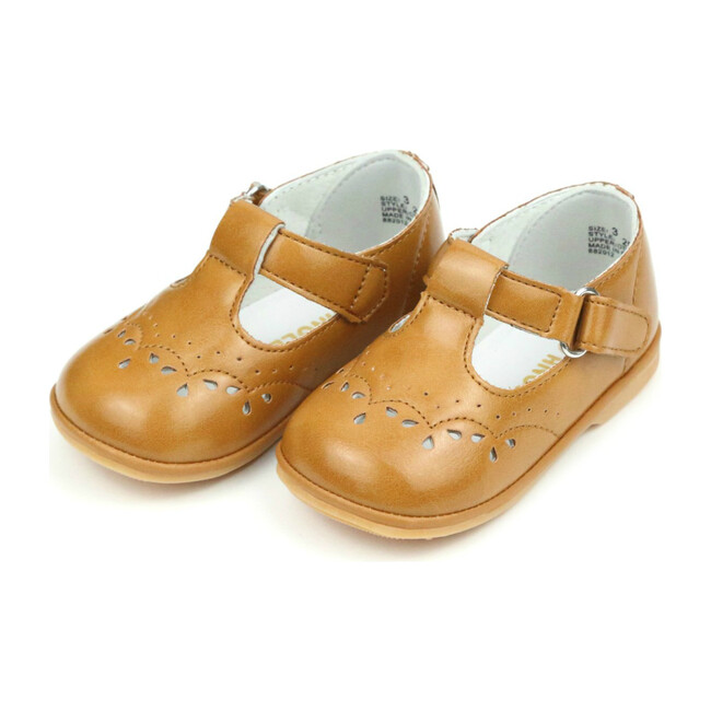 Baby Birdie Leather T-Strap Stitched Mary Jane, Mustard