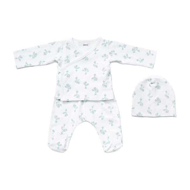 Organic Cotton Mini Radish Kimono Set, Agave