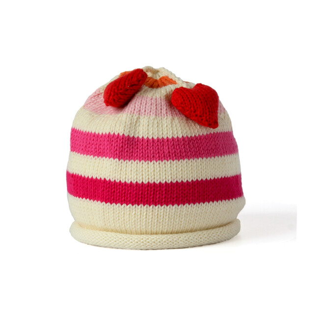 Striped Hat with Heart Tassel, Pink