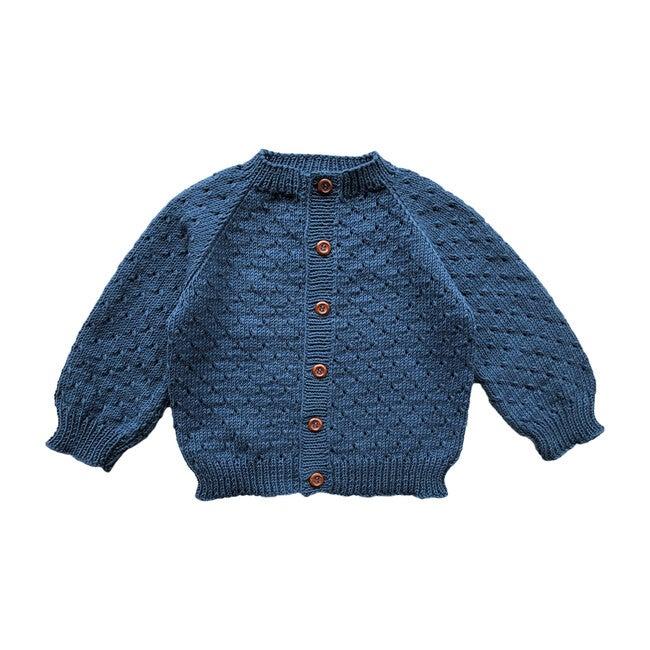 Handknit Linde Largo Sweater, Steel Blue