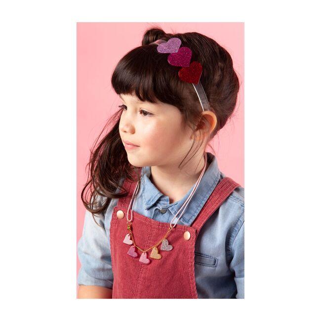 Glitter Heart Necklace, Pink