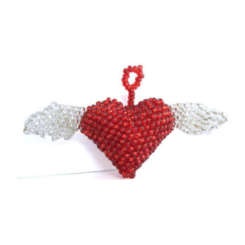 Heart with Wings Ornament, Red