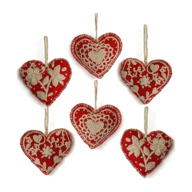 Embroidered Heart Ornament Set