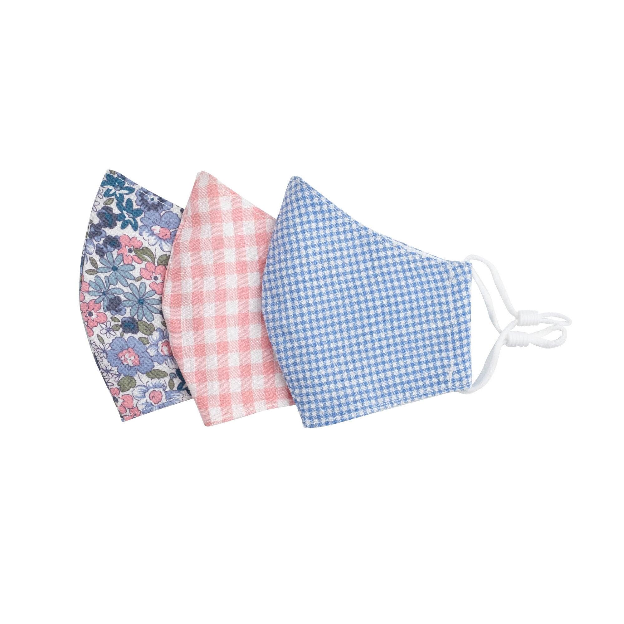 Floral Check Mask Bundle, Pink & Blue