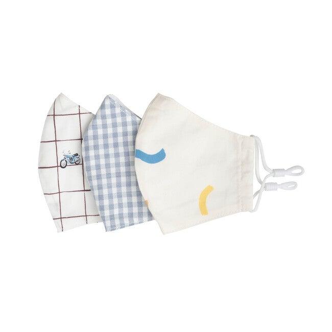 Kids Squiggles & Checks Mask Bundle, White Multi