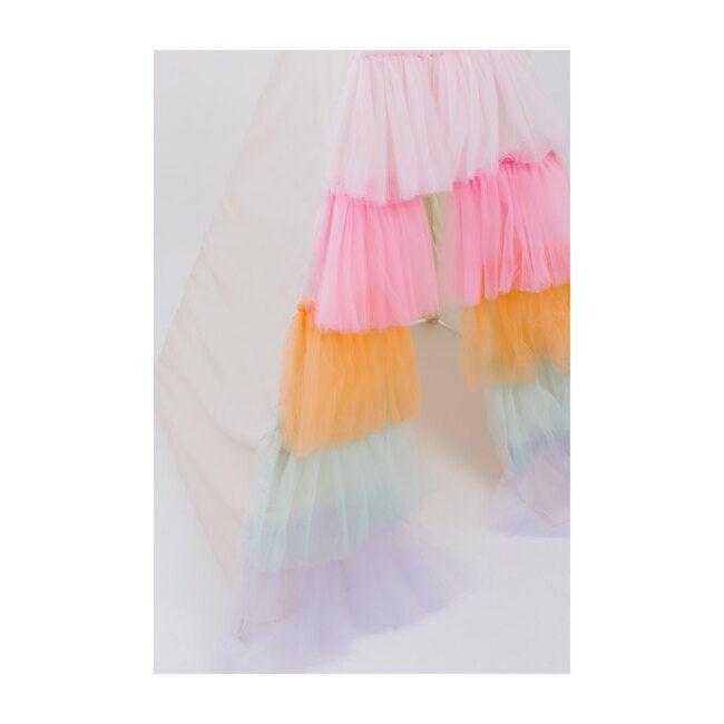 Ruffled Tulle Play Tent, Rainbow