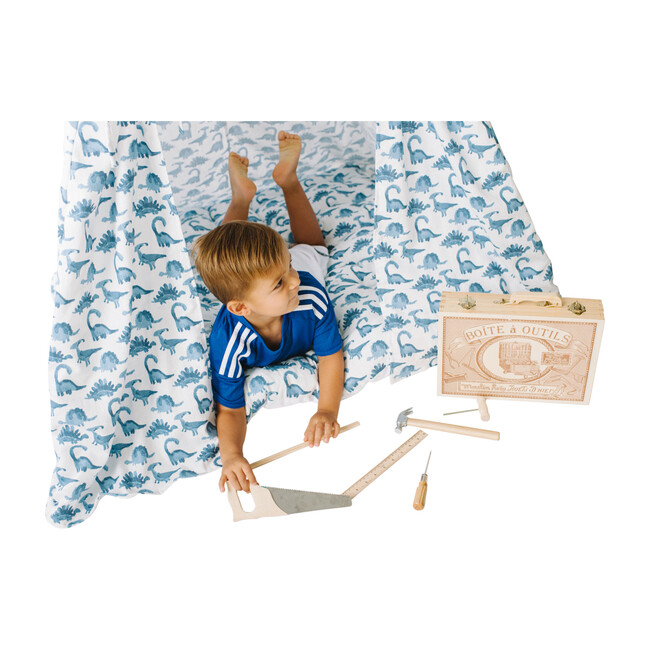 Padded Play Mattress, Blue Dino