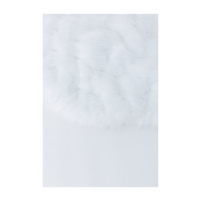 Circle Luxury Shag Padded Play Mattress, White