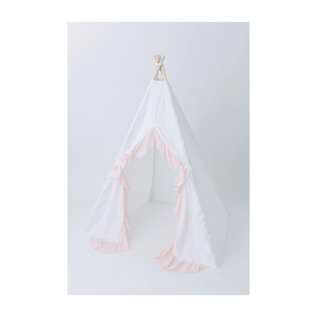 Eliza Ruffled Play Tent, White/Blush