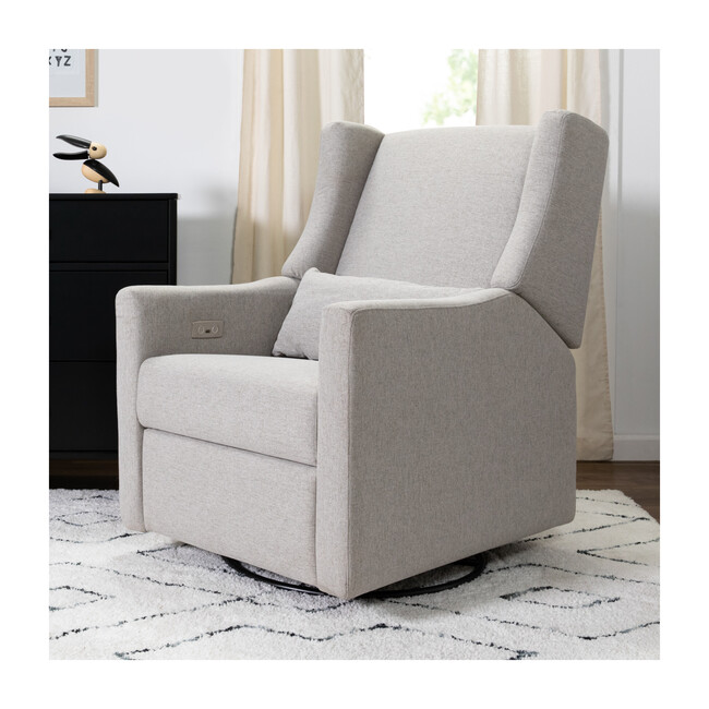 Kiwi Electronic Recliner and Swivel Glider with USB Port, Grey Eco-Performance Fabric