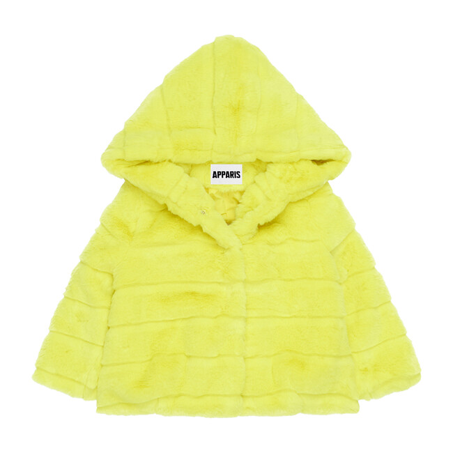 Goldie Faux Fur Jacket, Neon Yellow