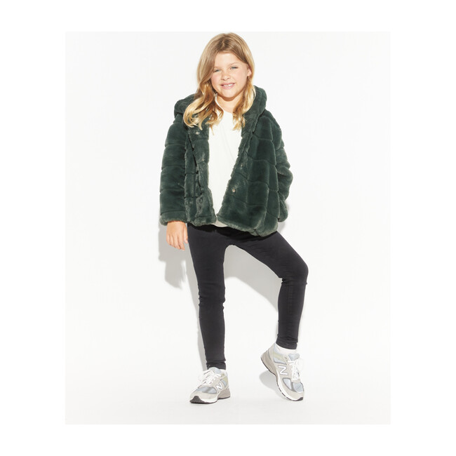 Goldie Faux Fur Jacket, Dark Green