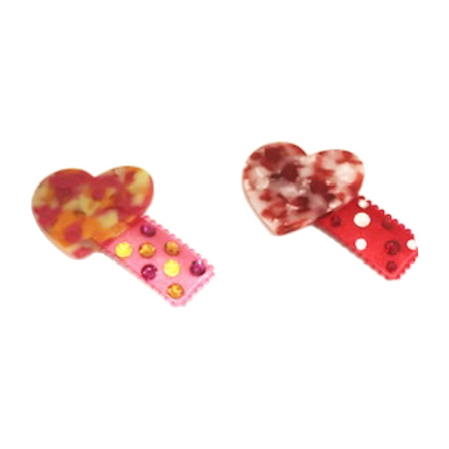 Resin Heart Clips Set of Two, Pink and Red