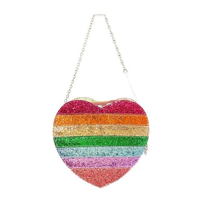 Rainbow Glitter Heart Bag, Multi