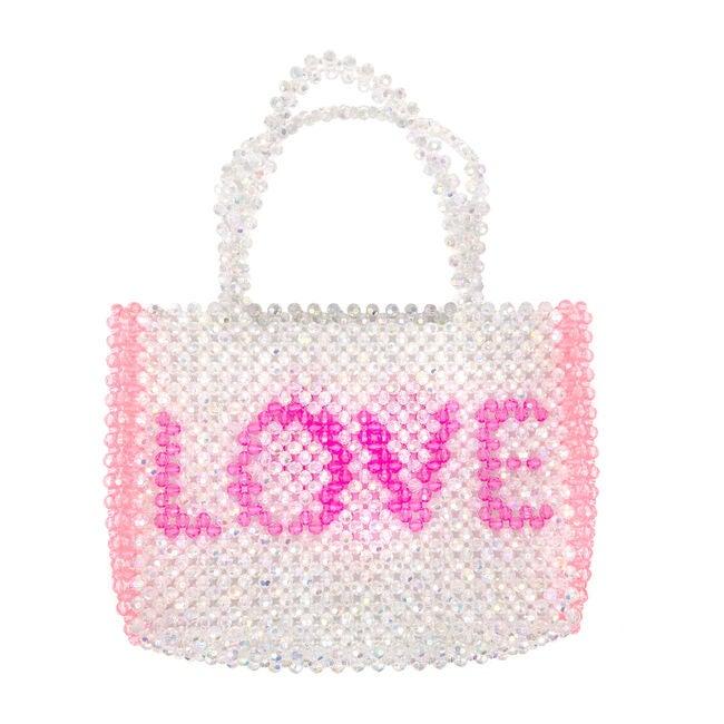 Beaded Crystal LOVE Bag, Pink