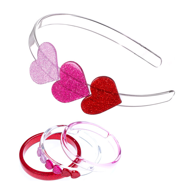 Valentine's Heart Headband and Bracelet Bundle, Glitter Pink