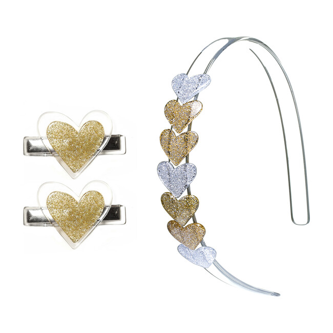 Glitter Heart Headband and Hair Clip Bundle, Gold
