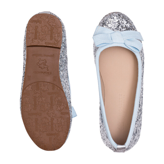 *Exclusive* Paris Flat, Silver Glitter with Light Blue Bow