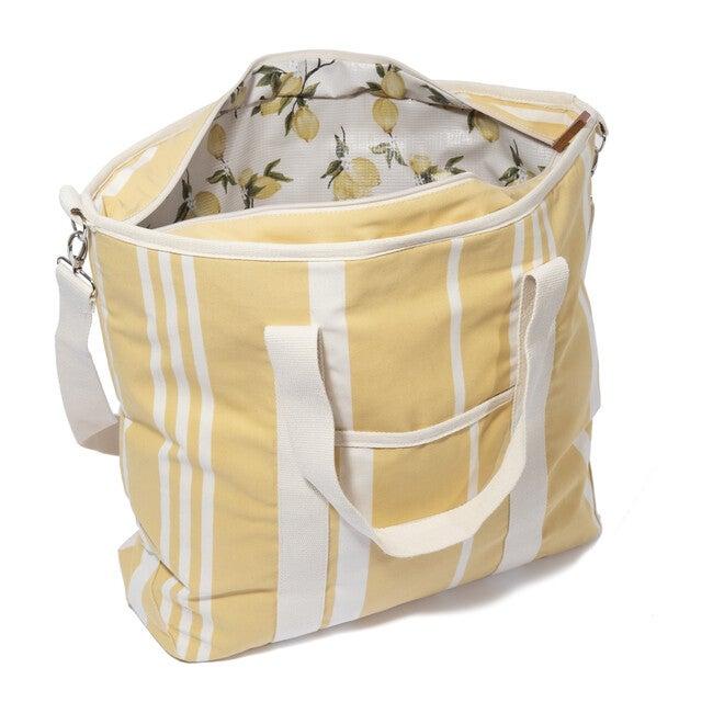 Cooler Tote Bag, Vintage Yellow Stripe