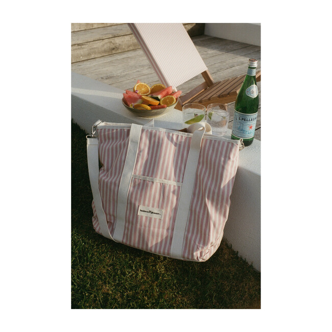 Cooler Tote Bag, Lauren's Pink Stripe