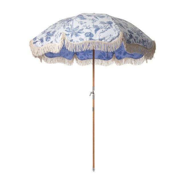Premium Beach Umbrella, Blue Chinoiserie