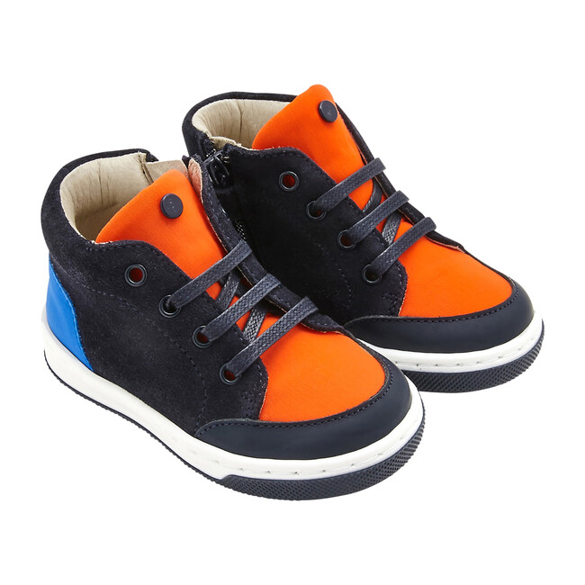 Baby Split Leather Sneakers, Navy Blue & Orange