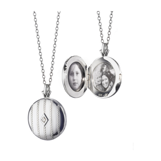 Sterling Silver Round Beaded Locket with Center White Diamond