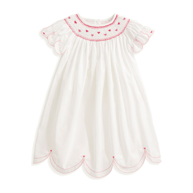 Avery Embroidered Dress, White & Pink