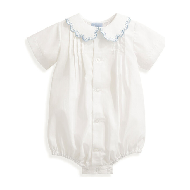 Butler Embroidered Bubble, White & Blue