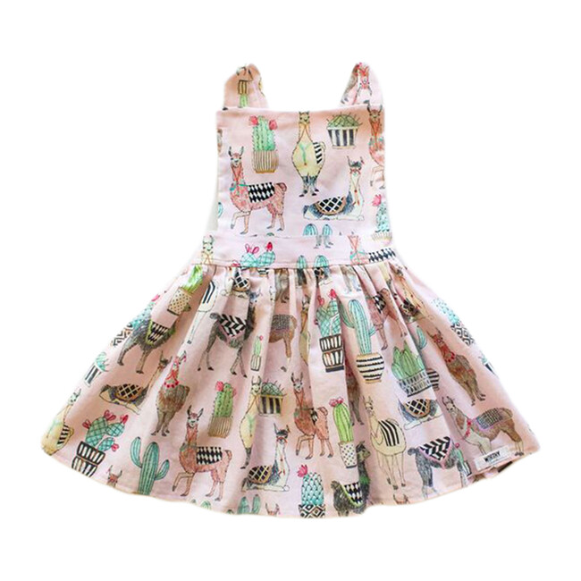 Pinafore Dress, Pink Llama