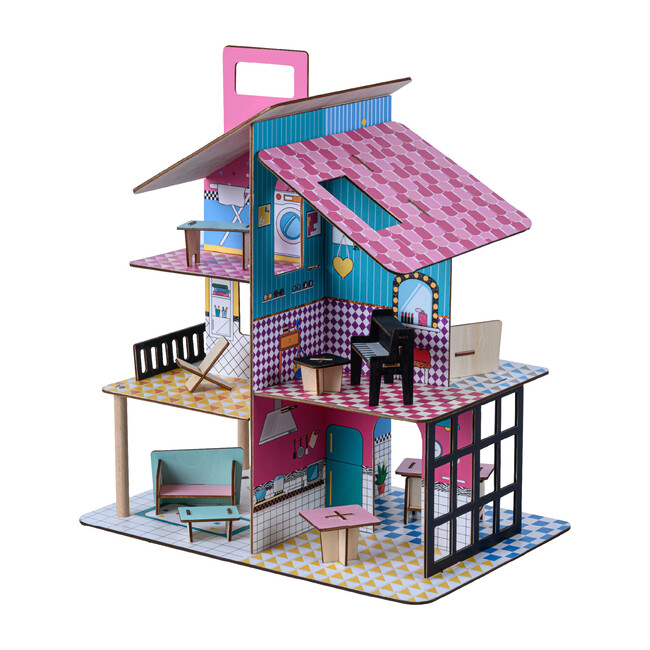 360 Pop Dollhouse with 12 Accessories, Multicolor