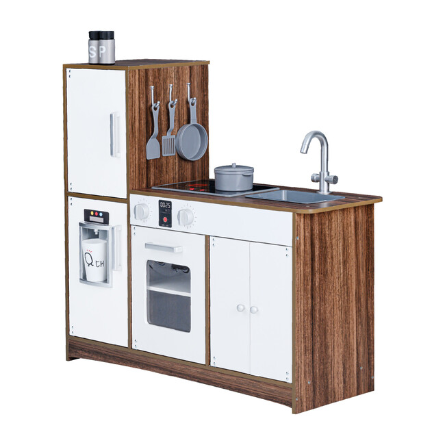 Little Chef Palm Springs Classic Kids Play Kitchen with Accessories, Natural/White