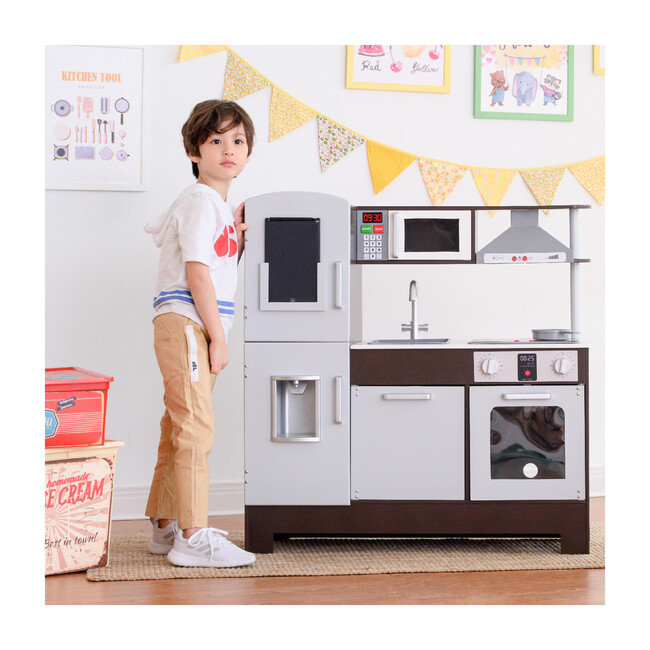 Little Chef Munich Classic Kids Kitchen Playset with Electric Writing Board, Espresso/Grey